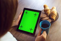 Morning Coffee with Tablet PC royalty free stock photos