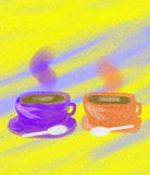 Morning Coffee Tea Abstract Oil Painting Stock Image