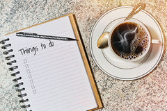 Morning coffee and to do list Royalty Free Stock Photos