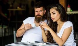 Morning coffee tradition. Couple enjoy hot espresso. Couple drink black espresso coffee in cafe. Having black cup of. Coffee when feel tensed or low can boost royalty free stock photo