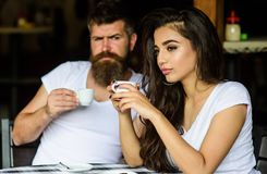 Morning coffee tradition. Couple enjoy hot espresso. Having black cup of coffee when feel tensed or low can boost your royalty free stock images