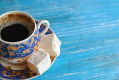 Morning coffee with turkish delight royalty free stock image