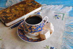 Morning coffee with turkish delight Royalty Free Stock Photo