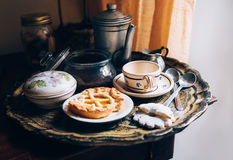 Morning coffee with vintage kitchen props and homemade cookies Royalty Free Stock Photo