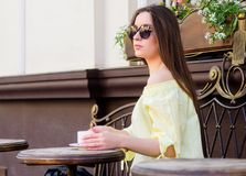 Morning coffee. Waiting for date. good morning. Breakfast time. girl relax in cafe. Business lunch. summer fashion. Beauty. Meeting in cafe. stylish woman in royalty free stock photo