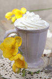 Morning coffee with whipped cream Royalty Free Stock Images