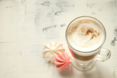 Morning coffee white background mock-up. White coffee on the table close up Stock Image