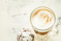Morning coffee white background mock-up. White coffee on the table close up Royalty Free Stock Photos