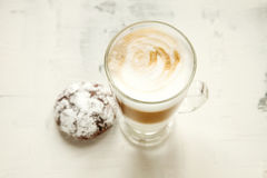 Morning coffee white background. White coffee on the table close up Stock Photos