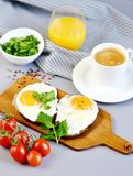 Morning Coffee White Cup Beverage Orange Juice Sandwich with Tasty Fried Egg. Morning Coffee. White Cup Beverage Orange Juice, Sandwich with Tasty Fried Egg Royalty Free Stock Photography