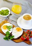 Morning Coffee White Cup Beverage Orange Juice Sandwich with Tasty Fried Egg. Morning Coffee. White Cup Beverage Orange Juice, Sandwich with Tasty Fried Egg Stock Image