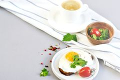 Morning Coffee White Cup Beverage Orange Juice Sandwich with Tasty Fried Egg. Morning Coffee. White Cup Beverage Orange Juice, Sandwich with Tasty Fried Egg Stock Photo