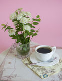 Morning coffee and white flower Royalty Free Stock Photography