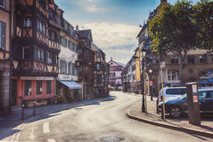Morning in Colmar, old medieval town in Alsace region in France Stock Photography