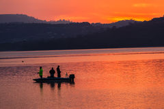 Morning Colors Boat Bass Fishing Dam Stock Photo