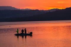 Morning Colors Boat Bass Fishing Dam stock photo