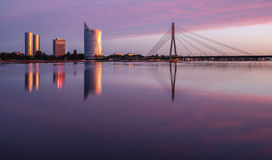 Morning colours for new Riga Stock Photography