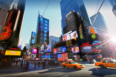 Times Square. With traffic, New York city, Manhattan Stock Images