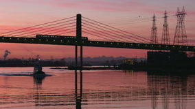 Morning Commuters, Vancouver, Fraser River 4K UHD stock video