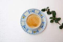 Morning composition with a coffee cup and branch with green leaves stock photos
