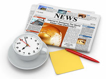 Morning concept. Clock as coffee cup,  newspaper and pen. 3d Royalty Free Stock Photography
