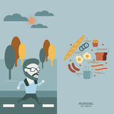 Morning conceptual.  Special moment jogging and Breakfast.   Royalty Free Stock Photo