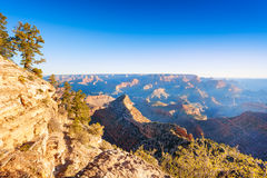 Morning contrast vie of the Grand Canyon valley Royalty Free Stock Photos