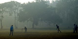 Morning cricket. Indian Children are playing cricket in a misty morning at Kolkata Royalty Free Stock Photography