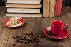 Morning Croissant and Coffee Stock Image