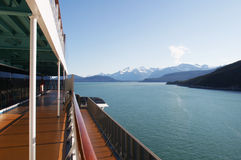 Morning on the Cruise. A morning view of some mountians from the cruise ship Stock Photo