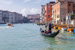 Morning cruise in Venice gondola on the Grand Canal Royalty Free Stock Photography
