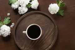 Morning cup of black coffee with decor of viburnum. View from above. Stock Photography