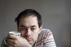 Morning cup of coffee. Morning portrait with cup of coffee Royalty Free Stock Image