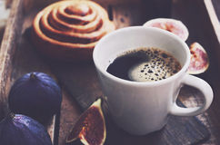 Morning cup of coffee, fruits and fresh bakery. Morning cup of black coffee, fruits and fresh bakery Stock Image