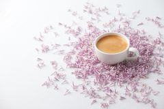 Morning Cup of coffee and a lilac flowers on light background, top view. Cozy Breakfast. Flat lay style. Female woman day, mother. Day, saint Valentine stock images