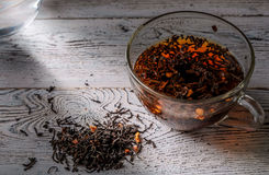 Morning cup of tea on a vintage wooden background Stock Images
