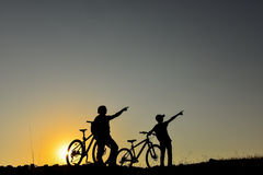 Morning cycling and discovery tour. Bicycle sport concept Royalty Free Stock Image