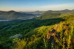 Morning in the Czech Central Mountains Royalty Free Stock Photos