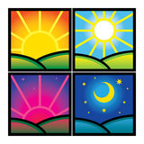 Morning Day Evening Night. Nature hour time sun moon Stock Photography