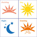 Morning day evening night icon set Stock Photography