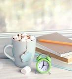 Morning day start breackfast alarm clock background. Stock Images