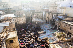 A morning day at Tannery of fez, Morocco. One of the most interesting sites in Fez is the Leather Souq and the oldest leather tannery in the world. The tannery Stock Photo