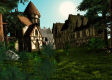 Morning Daylight Sunrise Medieval Town Village Sce Royalty Free Stock Photo