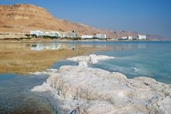 Morning on the Dead Sea in Ein Bokek royalty free stock photography