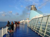Morning at deck of cruise ship - Moby lines Stock Image