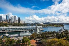 Morning Departure at Woolloomooloo Bay in Sydney Harbour. Woolloomooloo Bay, Sydney, Australia -September 03, 2018: Sydney Skyline and Woolloomooloo Bay view Royalty Free Stock Photos
