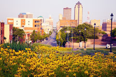 Morning in Des Moines. Iowa. Skyline of the city Royalty Free Stock Image