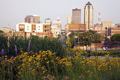 Morning in Des Moines. Iowa. Skyline of the city Stock Photos