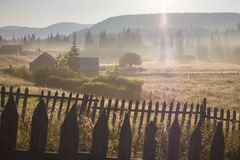 Morning dew fog sun rays in mountains. Early morning sun rays illuminate the dawn beautiful Carpathian landscape in the mist on the background of ancient trees Stock Photo