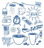 Morning doodles. A hand drawn morning doodles collection royalty free illustration